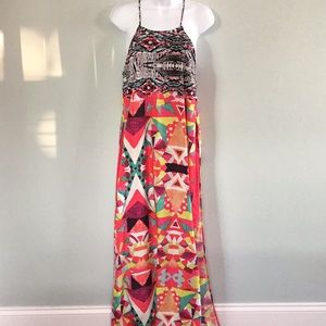 BOSTON PROPER LONG PRINT DRESS WITH RED UNDERDRESS